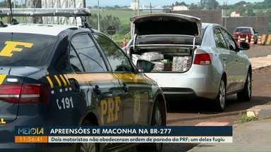 PRF apreende carros com maconha após perseguição na BR-277 - Foram apreendidos mais de 600 quilos da droga.