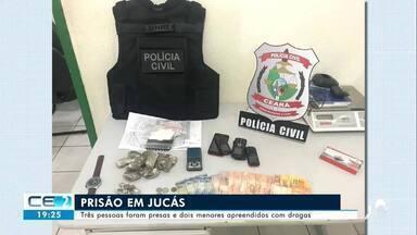 Três pessoas foram presas com drogas em Jucás - Confira mais notícias em g1.globo.com/ce