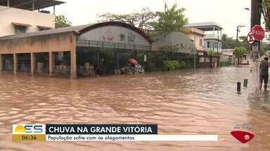 Ruas de Nova América, em Vila Velha, no ES, ficam completamente debaixo d'água - Moradores relatam transtornos.