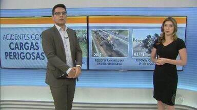 Concessionária faz simulação de acidente com carga perigosa em rodovia de Mogi Guaçu - Operação envolveu profissionais de diversos setores, que foram treinados para garantir mais eficiência em possíveis ocorrências do gênero.