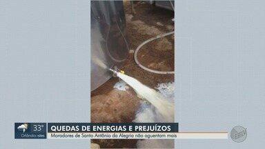Moradores reclamam de quedas de energia em Santo Antônio da Alegria, SP - Comerciantes dizem que, sem luz, alimentos estragam e prejuízo cresce.