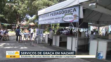 Estudantes de cursos técnicos fazem feira e oferece serviços gratuitos no bairro de Nazaré - Entre os serviços, estão de saúde, cidadania e muito mais.