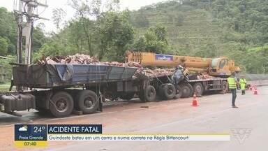 Motorista de guindaste morre em acidente no Vale do Ribeira - Acidente envolveu três veículos na rodovia Régis Bittencourt.