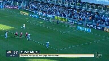 Santos e São Paulo empatam em clássico deste fim de semana - Partidas entre Palmeiras e Bahia e Corinthians e Internacional também terminaram com empates.