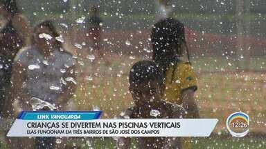 Crianças se divertem em piscinas verticais em São José - Essa foi a opção de lazer de muita gente no Santa Inês neste fim de semana.