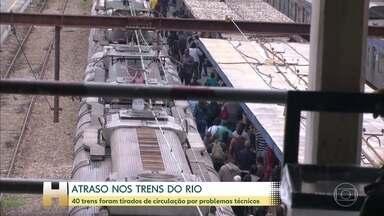 Supervia retira 40 trens de circulação por problemas técnicos no Rio - Trens são de fabricação chinesa, representam 20% da frota. Houve atrasos e as plataformas ficaram lotadas.