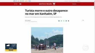 Corpo de turista que desapareceu no feriado é encontrado em Itanhaém, no litoral sul - Outro turista desaparecido continua sendo procurado