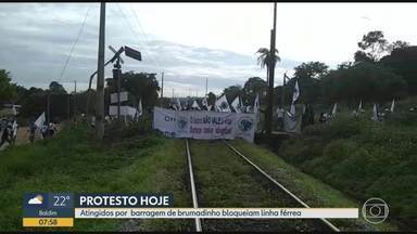 Atingidos por rompimento de barragem da Vale fecham linha de trem em protesto na Grande BH - Entre os pedidos dos manifestantes estão a exigência de uma reunião com a diretoria da mineradora e a continuidade do auxílio emergencial aos atingidos.