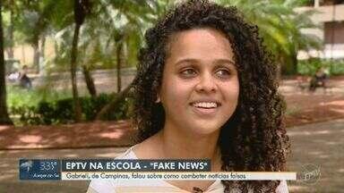 Menina de Campinas é oitava finalista do 'EPTV na Escola' - Gabrieli da Silva Gomes falou sobre como combater notícias falsas.