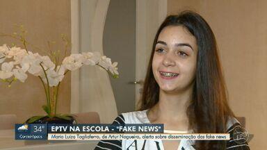 Sétima finalista do 'EPTV na Escola' alertou sobre disseminação das fake news - Maria Luiza Tagliaferro é de Artur Nogueira.