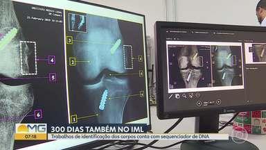 Após 300 dias da tragédia da Vale, 103 segmentos de corpos estão em análise no IML de BH - Trabalho de identificação de corpos conta com sequenciador de DNA. Dezesseis pessoas continuam desaparecidas em Brumadinho e 254 vítimas foram identificadas.