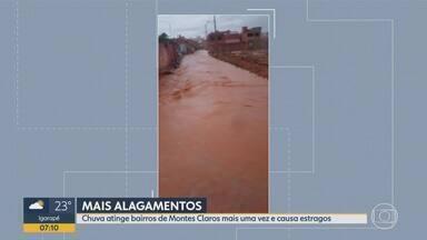 Chuva causa estragos em Montes Claros pela segunda vez essa semana - Água invade casas e moradores dos bairros Canela dois e Chiquinho Guimarães contabilizam prejuízos.