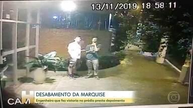 Polícia de São Paulo ouve novos depoimentos no caso da marquise que desabou - O porteiro que testemunhou o acidente e o engenheiro que assinou o laudo serão ouvidos na tarde desta quinta-feira (21).