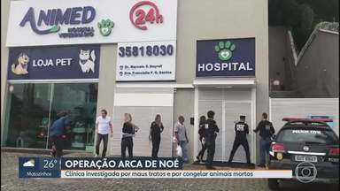 Clínica congelava animais mortos para continuar cobrando por internação, diz Polícia Civil - Batizada de Arca de Noé, operação prendeu dono de clínica veterinária localizada em Nova Lima, na Grande BH.