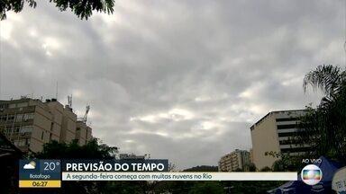 Previsão é de tempo firme no Rio de Janeiro nesta segunda-feira (25) - O dia começa com muitas nuvens, mas o sol deve aparecer. A temperatura máxima prevista é de 28ºC.