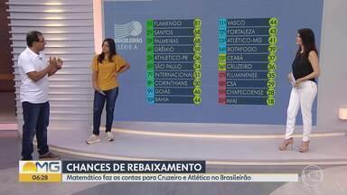 Matemático faz as contas de chances de rebaixamento dos times mineiros - Segundo o especialista, o Cruzeiro tem 40% de chance de cair e o Atlético precisa de apenas uma vitória para se livrar da degola