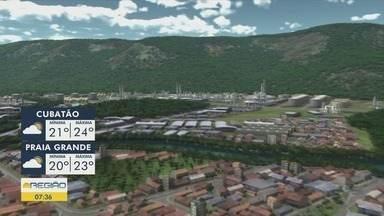 Confira a previsão do tempo para esta segunda-feira (25) - Tempo segue nublado na região da Baixada Santista.