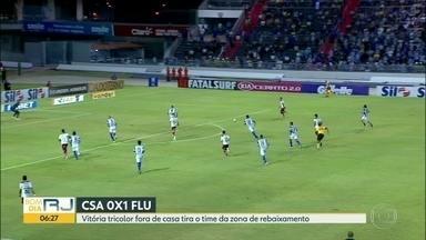 Flu vence CSA e sai do Z-4 - Vitória em Alagoas tirou tricolor da zona de rebaixamento. Time agora enfrentará o Palmeiras, no Maracanã, na quinta-feira.