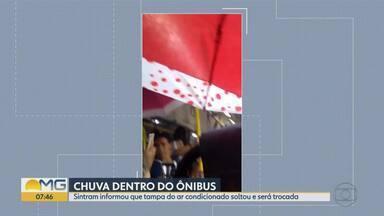 Sintram explica sobre chuva dentro de ônibus na capital - De acordo com o sindicato, a tampa do ar condicionado soltou por causa de uma forte chuva e o reparo será feito.