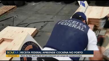 Receita Federal apreende cocaína no Porto de Paranaguá - Mais de 500 quilos da droga estavam em carga de compensados.