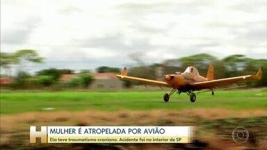 Mulher é atropelada por avião no interior de SP - Vítima teve traumatismo craniano e está em estado grave; moradores de bairros vizinhos ao Aeroclube de Guararapes atravessam a pista pra cortar caminho.