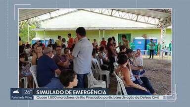Quase 1.800 moradores de Rio Piracicaba participam de simulado de emergência - Ação da Defesa Civil reúne pessoas que vivem nas zonas de autossalvamento das barragens Diogo, Monjolo e Porteirinha.