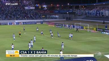 Bahia bate o CSA após ficar nove jogos sem vencer no Campeonato Brasileiro - Tricolor ganhou de 2 a 1, mas continua ocupando a 11ª colocação da tabela.