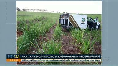 Filho indica onde enterrou o corpo do pai em Paranavaí - O jovem de 21 anos confessou ter matado o pai a marteladas.