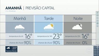 Sexta-feira, 06, deve ser chuvosa na capital - Temperatura cai e não deve passar de 23 graus.
