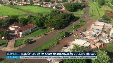 Helicóptero da PM ajuda na localização de carro furtado - Veículo foi encontrado hoje à tarde no Conjunto Novo Amparo, na saída de Londrina para Ibiporã.