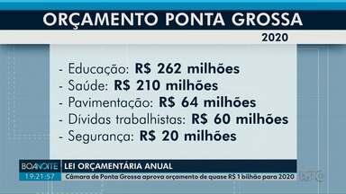 Câmara de Ponta Grossa aprova orçamento para 2020 - Maior investimento deve ser na educação: R$ 262 milhões.