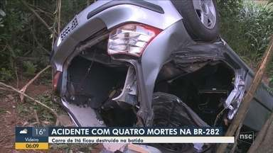 Quatro pessoas morrem em acidente na BR-282 no Oeste de SC - Quatro pessoas morrem em acidente na BR-282 no Oeste de SC
