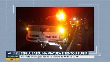 Motorista embriagado colide em viatura da PMRv e tenta fugir na SC-401 em Florianópolis - Motorista embriagado colide em viatura da PMRv e tenta fugir na SC-401 em Florianópolis