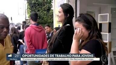 Dezoito empresas oferecem 400 vagas para jovens em mutirão em São Bernardo do Campo - As filas começaram de madrugada e dão a volta no quarteirão,