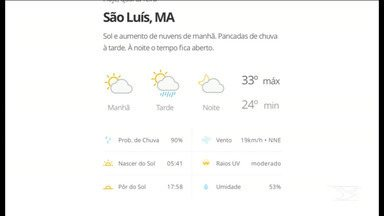 Veja as variações das temperaturas no Maranhão - Confira a previsão do tempo nesta quarta-feira (11) em São Luís e também no interior do estado.