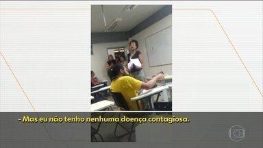 Polícia investiga caso de racismo na Universidade Federal do Recôncavo da Bahia - A situação aconteceu na última segunda (9) e foi gravada por estudantes da turma. Os vídeos mostram o momento em que um aluno de Ciências Sociais se recusa a pegar uma avaliação das mãos da professora.