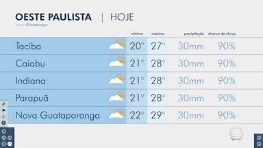 Confira a previsão do tempo para esta quarta-feira no Oeste Paulista - Tiago Rodrigues conta como ficam as temperaturas na região de Presidente Prudente.