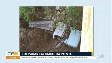 Motorista perde controle do carro, capota e cai de uma ponte no Crato - Saiba mais no g1.com.br/ce