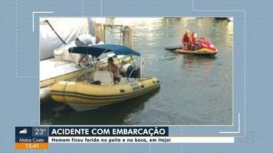 Em Itajaí, homem fica ferido depois de sofrer um acidente com uma embarcação - Em Itajaí, homem fica ferido depois de sofrer um acidente com uma embarcação