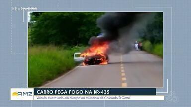 Veículo pega fogo na BR-435 - Caso aconteceu próximo a cidade de Colorado do Oeste.