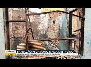Defesa Civil faz vistoria em barracão que pegou fogo em Montes Claros - Ninguém ficou ferido.