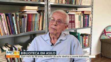 Morador do Asilo São Vicente de Paulo monta biblioteca no local - Com mais de 90 anos, seu Zeca decidiu retribuir o carinho que recebe diariamente no Asilo.