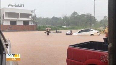 Sexta-feira chuvosa em todo Estado, em Barra do Bugres chuva forte alaga casas e ruas - Sexta-feira chuvosa em todo Estado, em Barra do Bugres chuva forte alaga casas e ruas.