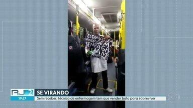 Funcionários da saúde municipal estão vendendo balas em ônibus para sobreviver - Terceirizados continuam sem receber. Atendimento segue precário em unidades administradas por organizações sociais.