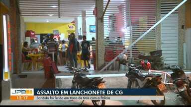 Assalto em lanchonete de Campina Grande - Bandido é ferido em troca de tiros com a Polícia.