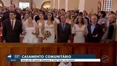 """Mais de 30 casais disseram o """"sim"""" hoje, na capital - Neste sábado dezenas de casais disseram sim no segundo casamento comunitário do ano na capital."""