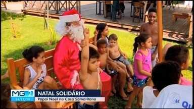 Casa Samaritana promove projeto 'Natal Solidário' em Divinópolis com entrega de presentes - Crianças também receberam a visita do Papai Noel.