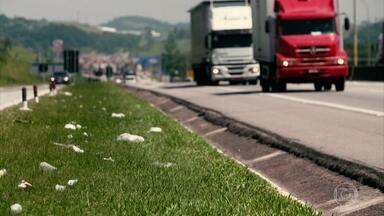 Lixo na estrada: saiba os riscos e problemas ambientais - Motoristas e passageiros não devem descartar nada em rodovias.