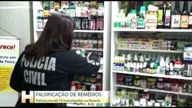 Treze pessoas são presas por falsificação de remédios no Paraná - Polícia Civil também apreendeu medicamentos de seis marcas diferentes.
