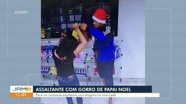 Assaltante usa gorro de papai noel para assaltar drogaria - Assalto ocorreu na Zona Leste de Manaus.